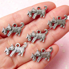 Cat Tiger and Child Charms (6pcs) (20mm x 12mm / Tibetan Silver / 2 Sided) Pendant Bracelet Earrings Zipper Pulls Bookmarks Keychains CHM338