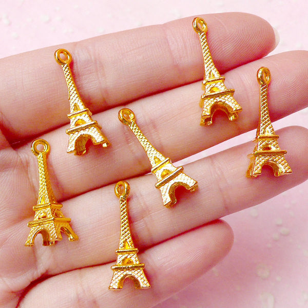 3D Tower Charms (6pcs) (23mm x 8mm / Gold) Kawaii Paris Charm Metal Finding Pendant Bracelet Earrings Zipper Pulls Bookmark Keychains CHM348