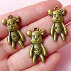 Bear w/ Love and Bow Charms (3pcs) (15mm x 28mm / Antique Bronze) Findings Pendant Bracelet Earrings Zipper Pulls Bookmark Keychains CHM356