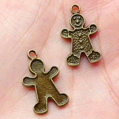 Gingerbread Man Charms (8pcs) (12mm x 20mm / Antique Bronze) Christmas Pendant Bracelet Earrings Zipper Pulls Bookmark Keychains CHM357