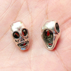 Skull / Alien Beads (5pcs) (9mm x 15mm / Tibetan Silver) Halloween Metal Findings Pendant Bracelet Earrings Zipper Pulls Keychain CHM359