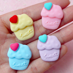Decoden Cupcake Cabochon (4pcs / 20mm x 23mm / Pastel Color) Decora Fairy Kei Phone Case Miniature Sweets Embellishment Kawaii Deco FCAB138