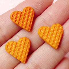Dollhouse Heart Waffle Cabochon (3pcs / 14mm x 14mm) Miniature Dessert Kawaii Sweets Deco Doll Food Craft Stud Earrings Making FCAB144