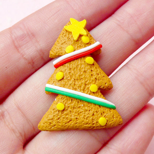 Polymer Clay Food Cabochon / Fimo Christmas Tree Cookie Cabochon (23mm x 32mm) Fake Sweets Embellishment Kawaii Supply Decoden Piece FCAB150