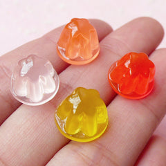 Miniature Dollhouse Jelly Pudding Cabochons in 3D / Translucent Gelatin Dessert Resin Cabochon (4pcs / 12mm x 8mm / Assorted Mix) FCAB153