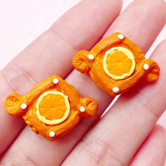Puff Pastry Tart with Orange Curd Cabochon / Doll Food Cabochon (2pcs / 26mm x 18mm) Kawaii Bakery Decoden Dollhouse Miniature Bread FCAB157
