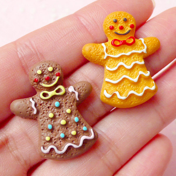 Kawaii Cabochons / Gingerbread Man Cookie Cabochon / Miniature Sugar Cookie (2pcs / 23mm x 27mm) Christmas Decoden Case Scrapbook FCAB161