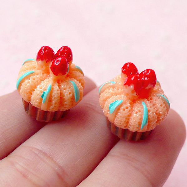 Miniature Cupcake Cabochon w/ Strawberry (2pcs / 15mm / 3D) Decoden Pieces Kawaii Supplies Fake Sweets Deco Dollhouse Food Jewelry FCAB147