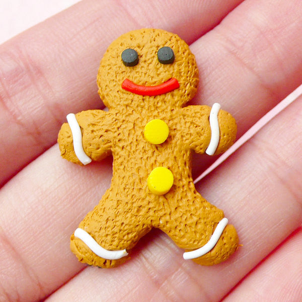 Polymer Clay Gingerbread Man Cabochon (1 piece / 23mm x 30mm) Christmas Sugar Cookie Kawaii Fimo Sweets Deco Fake Food Jewellery FCAB149