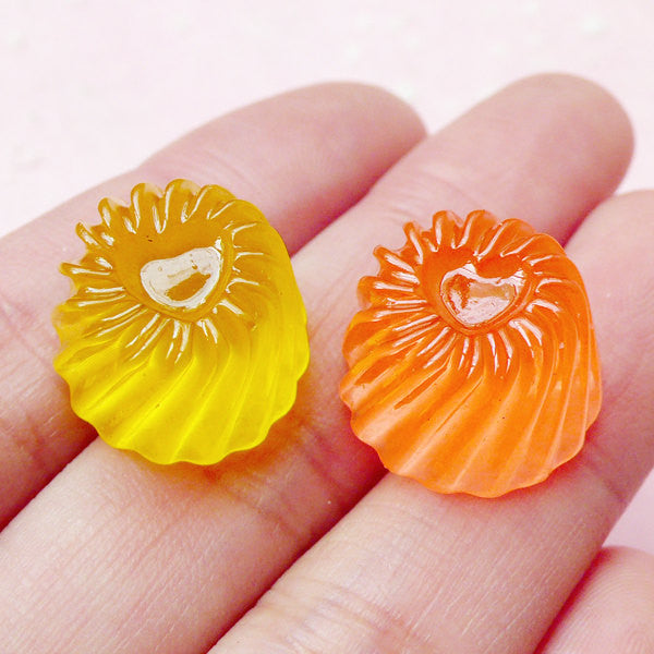 3D Jelly Cabochons / Miniature Pudding Cabochon (2pcs / 16mm x 10mm / Mango & Orange) Doll Food Kawaii Supplies Cute Decoden Pieces FCAB151