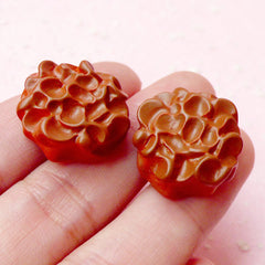 Chocolate Fudge Cookie Cabochon (2pcs / 19mm x 9mm / 3D) Kawaii Decoden Piece Dollhouse Candy Miniature Sweets Cell Phone Case Deco FCAB154