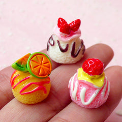 Ice Cream Scoop Resin Cabochons with Fruit Topping (3pcs / 15mm x 16mm / 3D) Kawaii Miniature Sweets Deco Whimsical Embellishment FCAB169