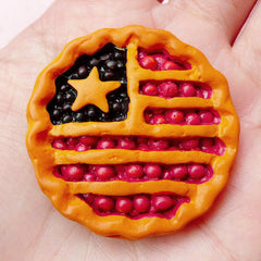 Miniature Sweets Cabochon American Berry Pie Cabochons (38mm / Flatback) Dollhouse Fruit Pie Fake Food Craft Kawaii Decoden Supplies FCAB173