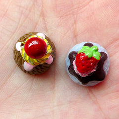 Decoden Ice Cream Scoop Cabochons with Fruit Toppings (2pcs / 14mm x 17mm / 3D) Kawaii Mini Sweets Jewellery Fake Dessert Decoration FCAB168
