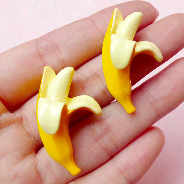 Miniature Banana Cabochons / Dollhouse Fruit Cabochon (2pcs / 20mm x 34mm) Fake Food Jewelry Whimsy Decoden Kawaii Cell Phone Deco FCAB180