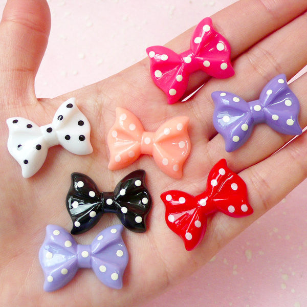 Kawaii Bow Cabochon Set (7pcs / 28mm x 20mm) Kawaii Bowtie Cabochon Cell phone Deco Decoden Kawaii Earring Making Scrapbooking CAB278
