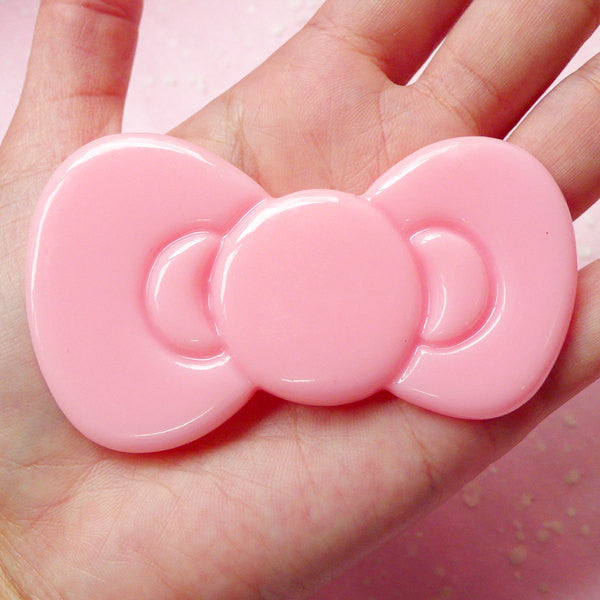 BIG Bow Cabochon Bowtie Cabochon (77mm x 46mm / Light Pink) Kawaii Cabochon Cell phone Deco Scrabooking Decoden CAB280