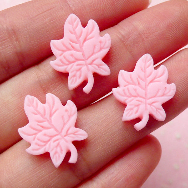 Maple Cabochon (Pink) (19mm x 15mm) (3pcs) Kawaii Decoden Jewelry Making Earrings Making Scrapbooking Cell Phone Deco Home Decor CAB286