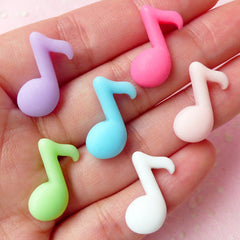 Eighth Note Cabochon / Resin Music Note / Quaver / Musical Symbol (6pcs / 15mm x 20mm / Pastel Color) Kawaii Scrapbook Decoden Supply CAB283
