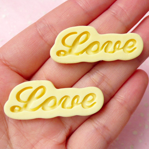 Love Cabochon (Yellow) (38mm x 15mm) (2pcs) Kawaii Decoden Jewelry Making Valentine Scrapbooking Cell Phone Deco Home Decor CAB285