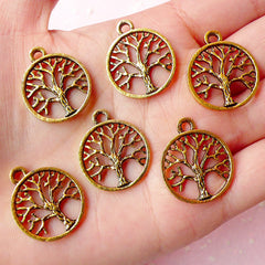 Tree of Life Charms (6pcs) (20mm x 24mm / Antique Gold) Tree Charm Metal Findings Pendant Bracelet Earrings Zipper Pulls Keychains CHM362