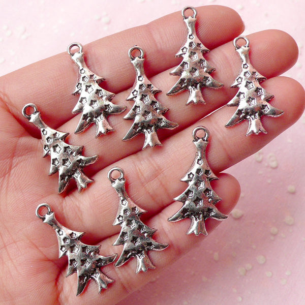 Christmas Tree Charms (8pcs) (14mm x 26mm / Tibetan Silver) Metal Findings Pendant DIY Bracelet Earrings Bookmark Keychains CHM365