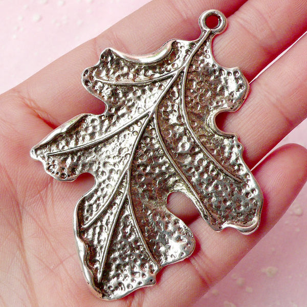 Big Leaf Charms (1pc) (53mm x 68mm / Tibetan Silver) Findings Pendant Bracelet Earrings DIY Zipper Pulls Bookmarks Key Chains CHM367