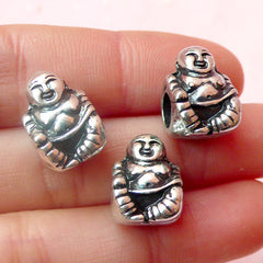 CLEARANCE Fat Buddha Beads Buddhism (3pcs) (11mm x 15mm / Tibetan Silver / 2 Sided) Metal Finding Pendant Bracelet Earrings Bookmark Keychains CHM379