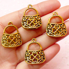 CLEARANCE Purse Charms Handbag Charms (4pcs) (19mm x 24mm / Antique Gold/ 2 Sided) Pendant Bracelet Earrings Bookmark Zipper Pulls Keychains CHM396