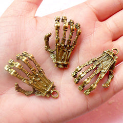 Robot Skeleton Hand Charms Claw Charm (3pc) (20mm x 37mm / Antique Bronze) Findings Pendant Bracelet Earrings Zipper Pulls Key Chains CHM395