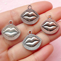 Lips Charms (4pcs) (18mm x 18mm / Tibetan Silver / 2 Sided) Metal Finding Pendant Bracelet Earrings Zipper Pulls Bookmarks Key Chains CHM397