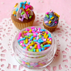 Fake Colorful Chocolate Sprinkles Topping Faux Chocolate Flakes Miniature Sweets Cupcake Cookie Cell Phone Deco (2.5g / Pastel Color) TP012
