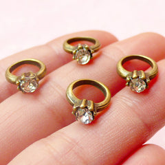 Mini Diamond Ring Connector / 3D Ring Charms w/ Rhinestones (4pcs) (11mm x 13mm / Antique Bronze) Pendant Bracelet Earrings Keychains CHM419