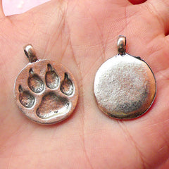 CLEARANCE Paw Charms Round Animal Charms (3pcs) (21mm x 28mm / Tibetan Silver) Pet Cat Dog Charms Animal Pendant Bracelet Earrings Zipper Pulls CHM421
