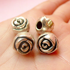 Rose Beads (4 pcs) (11mm / Tibetan Silver) Metal Flower Beads Findings Spacer Pendant DIY Bracelet Earrings Bookmark Keychains CHM441