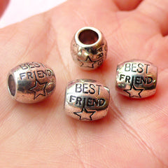 Best Friend Beads (4pcs) (10mm x 10mm / Tibetan Silver) Metal Beads Findings Spacer Slider DIY Pendant Bracelet Earrings Keychains CHM444