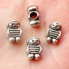 Little Girl Beads (4pcs) (8mm x 13mm / Tibetan Silver / 2 Sided) Metal Beads Spacer Slider DIY Pendant Bracelet Earrings Keychains CHM445