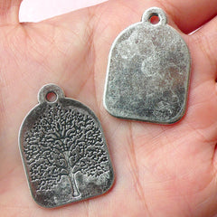 Tree of Life Tag Charms (2pcs) (22mm x 31mm / Tibetan Silver) Tree Charm Findings Pendant Bracelet Earrings Zipper Pulls Keychains CHM450