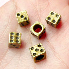 Dice Beads (5pcs) (7mm / Antique Bronze / 4 Sided) Metal Beads Charms Findings Pendant DIY Bracelet Earrings Zipper Pulls Keychains CHM458