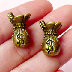 3D Money Bag Charms (2pcs) (12mm x 20mm / Antique Bronze) Metal Charms Pendant Bracelet Earrings Zipper Pulls Bookmarks Key Chains CHM463