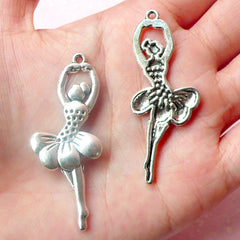 Ballerina Charms Ballet Dancer Charms (2pcs) (20mm x 51mm / Tibetan Silver) Metal Charms DIY Pendant Earrings Zipper Pulls Keychain CHM465
