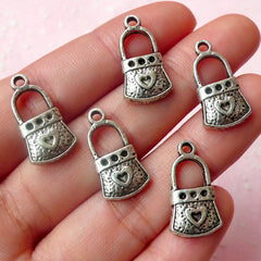 Handbag / Key Lock with Heart Charms (5pcs) (11mm x 20mm / Tibetan Silver) Metal Pendant Bracelet Earrings Zipper Pulls Bookmark CHM459