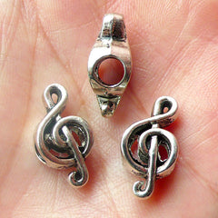 Music Note / G Clef  / Treble Clef Beads (3pcs) (9mm x 18mm / Tibetan Silver / 2 Sided) Metal Beads Findings Slider Pendant Bracelet CHM484