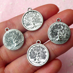 Tree of Life Charms (4pcs) (17mm x 20mm / Tibetan Silver / 2 Sided) Tree Charm DIY Pendant Bracelet Earrings Zipper Pulls Keychains CHM486