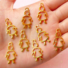 Girl Charms (8pcs) (13mm x 25mm / Gold) Baby Girl Charms Findings DIY Pendant Bracelet Earrings Zipper Pulls Bookmark Keychains CHM472