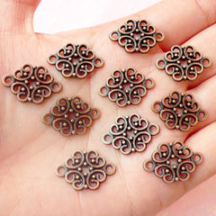 Filigree Connector Link (10pcs) (20mm x 13mm / Antique Red Bronze) Lace Charms Metal Findings Pendant Bracelet Earrings Bookmark CHM478