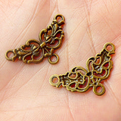 Filigree Connector Link (10pcs) (26mm x 14mm / Antique Bronze) Lace Charms Metal Findings Pendant Bracelet Link Earrings Making CHM479