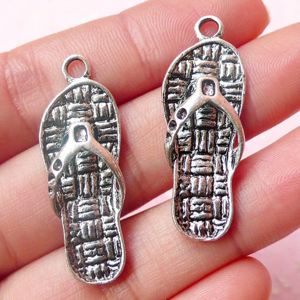 3D Flip Flops Charms (2pcs) (12mm x 35mm / Tibetan Silver) Dollhouse Shoe Pendant Bracelet Earrings Zipper Pulls Bookmark Keychains CHM494