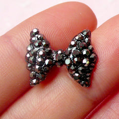 Bow / Bowtie Cabochon with Black Silver Rhinestones (1pc) Kawaii Bling Bling Deco Scrapbooking Wedding Jewelry Making Earring Making NAC122