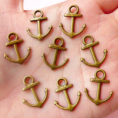 Anchor Charms Nautical Charms (8pcs) (15mm x 19mm / Antique Bronze) Pendant DIY Bracelet Earrings Zipper Pulls Bookmarks Key Chains CHM501